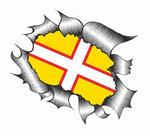 Ripped Torn Metal Design With Dorset County Flag Motif External Vinyl Car Sticker 105x130mm